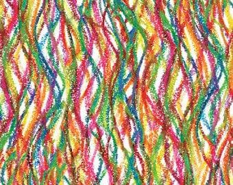 Crayon Scribble Multi Fabric - Half Yard