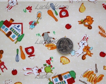 Cute Japanese Tossed Bunny and Sweets on Natural Fabric - Half Yard