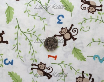 SALE Deb Strain, Kate Strain, Arrin Turnmire, Grow With Me, Monkeys Creamy White Fabric - REMNANT Size 28 Inches by 44 Inches