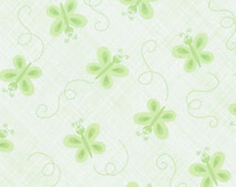 SALE/CLEARANCE Ellen Crimi-Trent, Critters, Butterfly Tonal Green Fabric - By the Yard