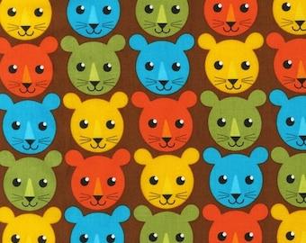 SALE/CLEARANCE Print & Pattern, Roar, Lion Cub Faces Fabric in Bermuda - Half Yard