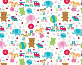 SALE/CLEARANCE Riley Blake Designs, Santa's Workshop, Santa Toys Fabric in White - Half Yard