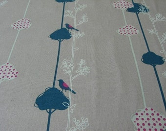 Echino Balance Bird Blue Gray Fabric- HALF YARD