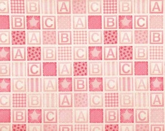 SALE/CLEARANCE Makower UK Baby, Baby Girl Blocks Pink Fabric - By the Yard