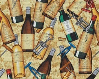 Michael Miller Wine Bottles Fabric - REMNANT Size 28 Inches by 44 Inches