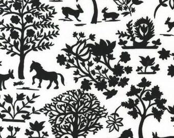 Robert Kaufman, Hot Couturier Animal Forest Black OOP Fabric - HALF YARD (Last One)