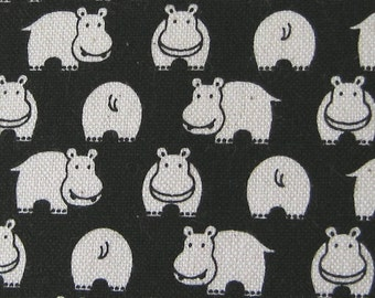 Hippos on Black Japanese Fabric - REMNANT Size 13 Inches by 42 Inches