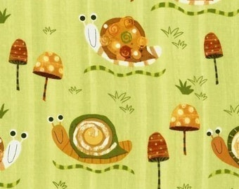 Robert Kaufman Creatures and Critters Snails Earth Green OOP Fabric - Half Yard