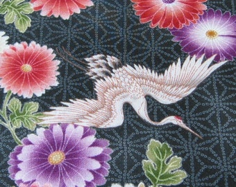 Japanese Cranes and Blossoms on Black Fabric - REMNANT Size 35 Inches by 44 Inches