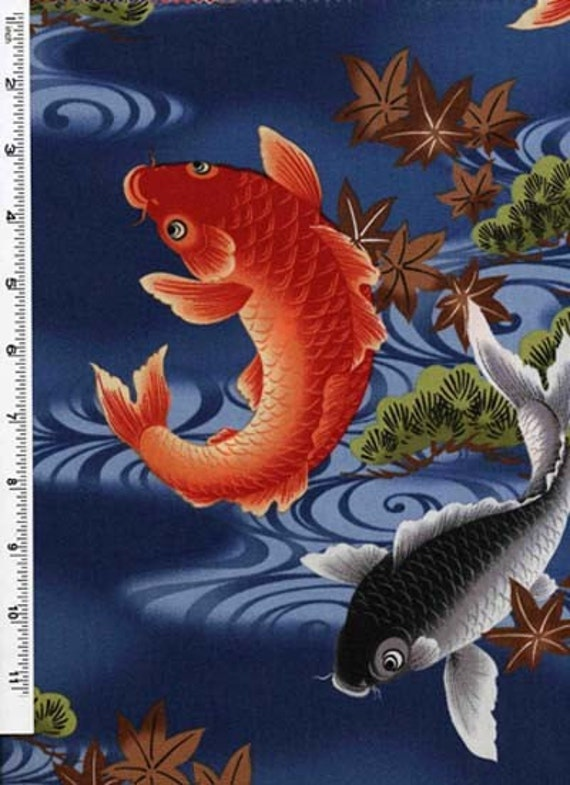 Koi lagoon japanese koi fish on blue fabric by the yard for Baby japanese koi fish for sale