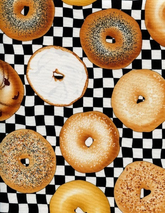 Bagels on Black and White Fabric - By the Yard