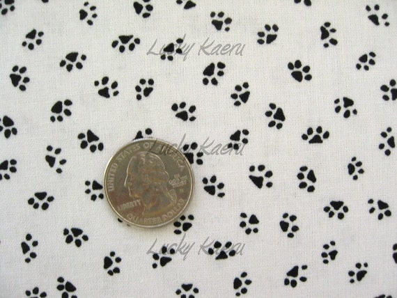 Paw Prints Black on White Fabric - By the Yard