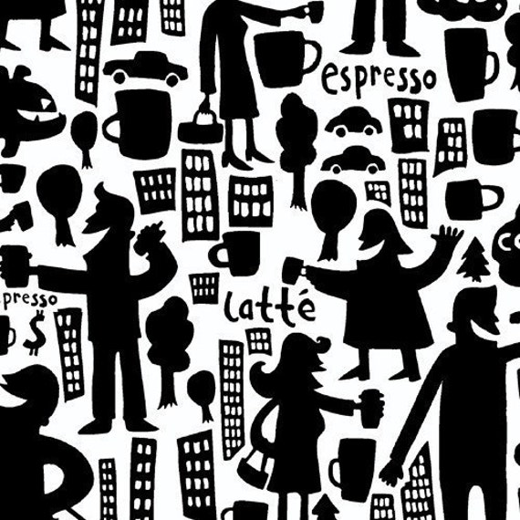 Coffee Buzz, City Scene Black on White Fabric - By the Yard