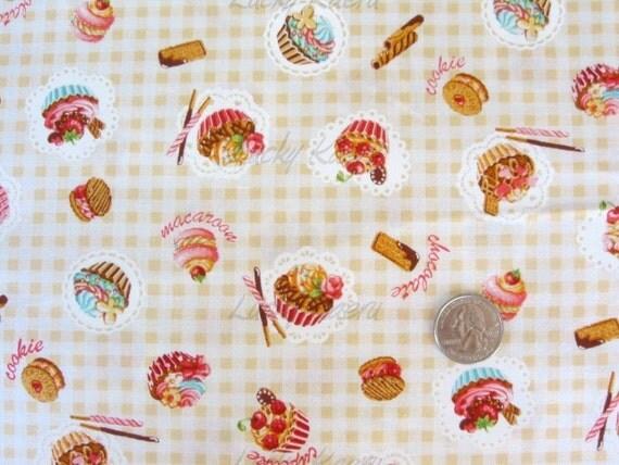 Japanese Small Cupcake Sweets Gingham Tan Fabric - Half Yard