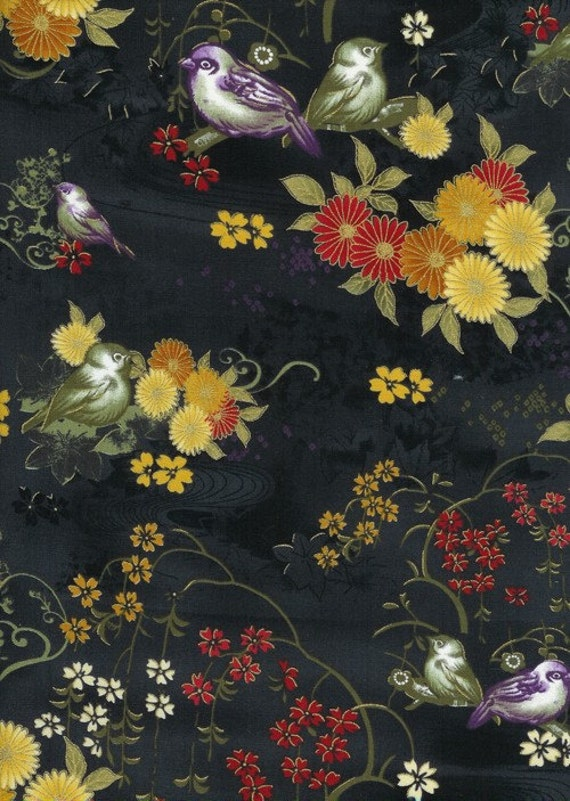 SALE Dreams of Osaka, Weeping Cherries with Birds on Black Fabric - By the Yard
