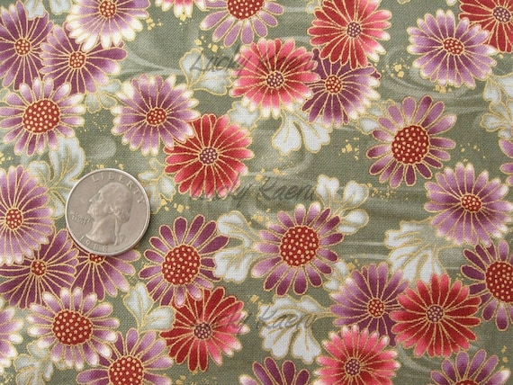 SALE Han E Mai Japanese Blossoms on Green Fabric - By the Yard