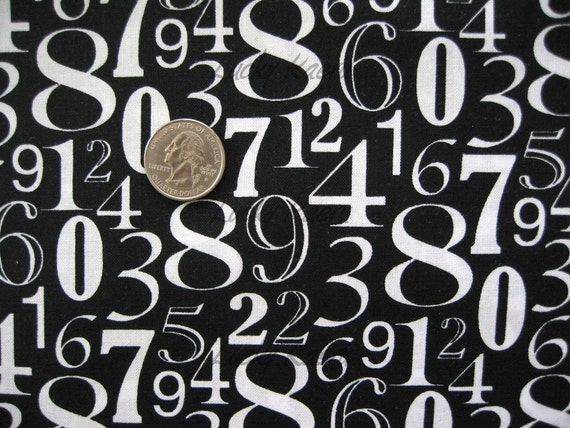 Numbers White on Black Fabric - By the Yard