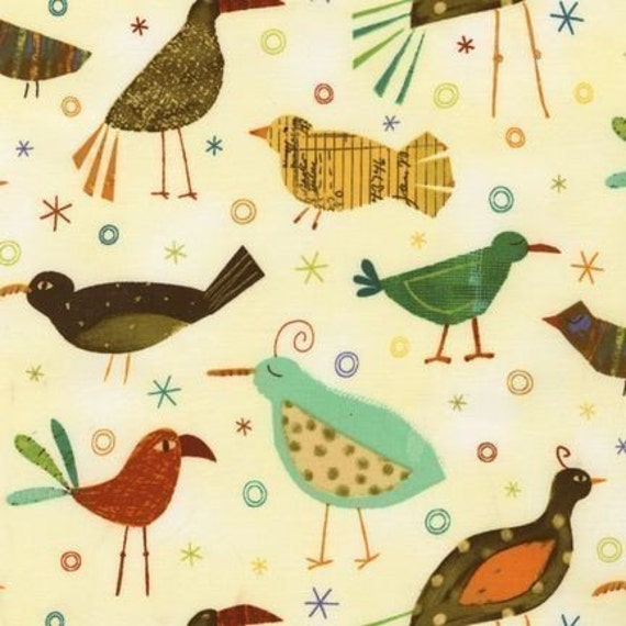 Amy Schimler Creatures and Critters Birds Fiesta Yellow Fabric - By the Yard