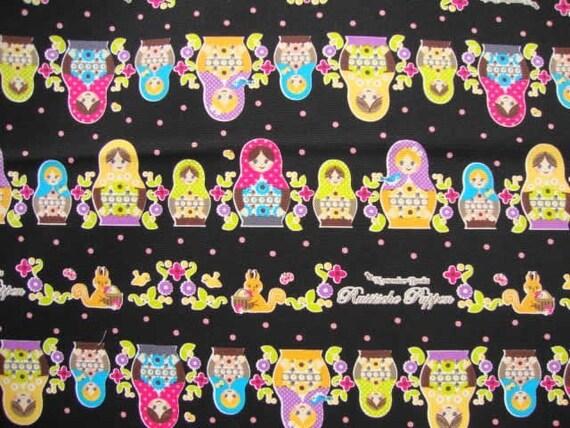 SALE Kawaii Matryoshka Dot Black Japanese Fabric - Half Yard