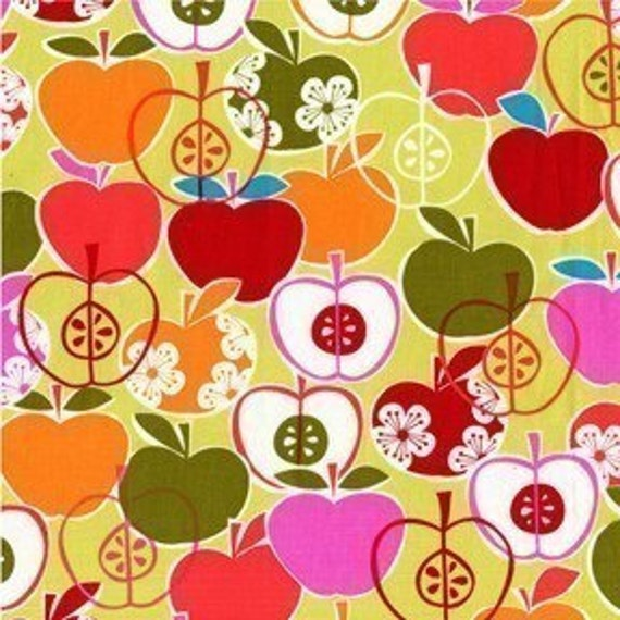 Michael Miller Bite Me Apple on Lime Fabric - By the Yard