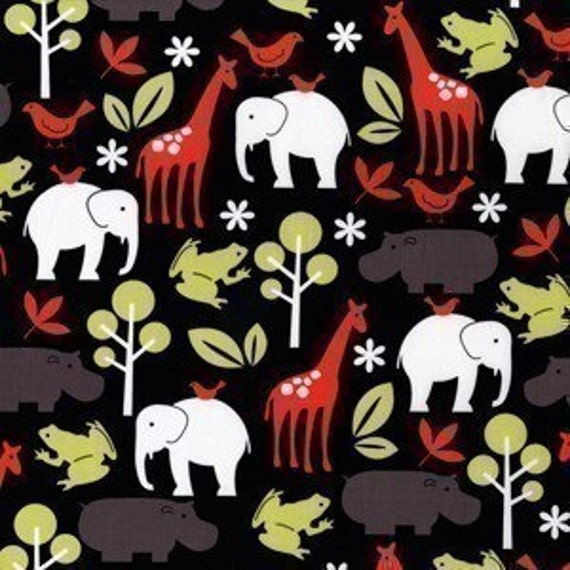 Michael Miller Zoology Animals Black Fabric- By the Yard