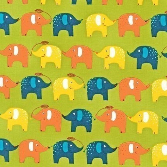 SEI Playday Elephants on Spring Green Fabric - By the Yard