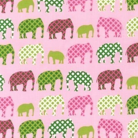 Laurie Wisbrun, Urban Circus Elephants Spring Pink Fabric - By the Yard