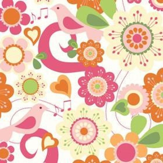 Riley Blake Designs, Summer Song, White Songbird Fabric - Remnant Sized 22 Inches by 44 Inches
