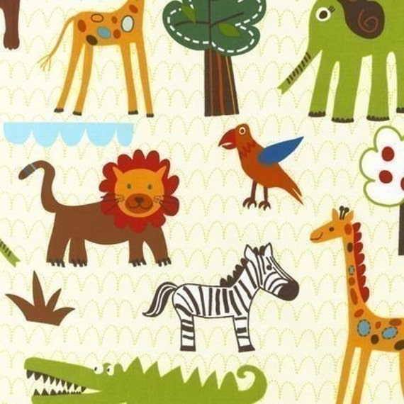 Lesley grainger wild friends jungle animals earth fabric for Childrens jungle print fabric
