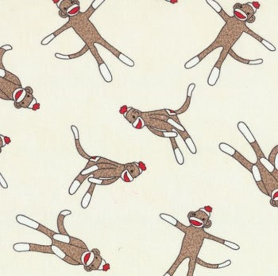 Erin Michael, 5 Funky Monkeys, Sock Monkeys Allover on Cream Fabric - By the Yard