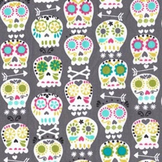 Michael Miller Bonehead Gray Fabric - By the Yard