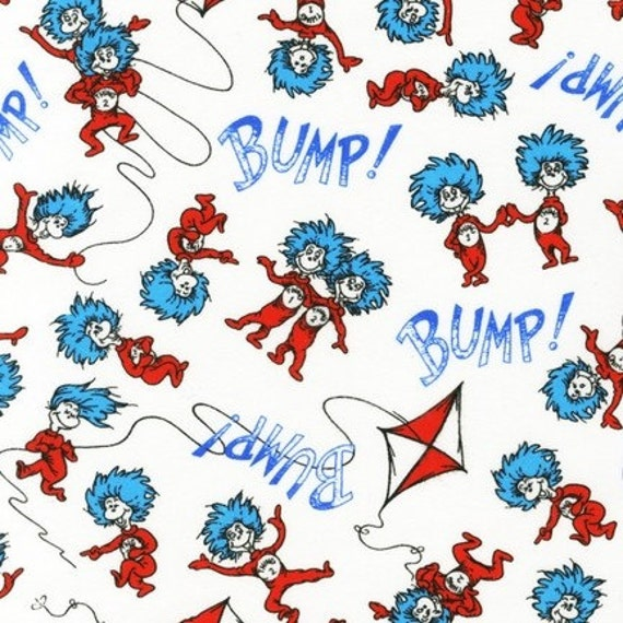 Dr. Seuss, Bump Thing 1 and Thing 2 in Bright FLANNEL Fabric - By the Yard