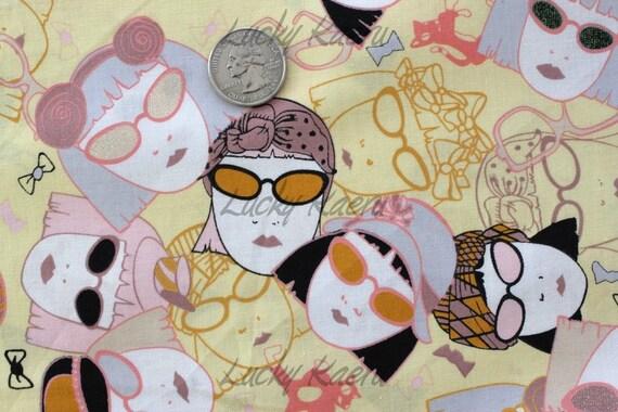 SALE/CLEARANCE Marie Jacobi, Berlin Girl in Yellow Japanese Fabric - Half Yard