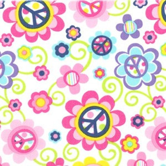Michael Miller Daisy Peace Pink Fabric - By the Yard