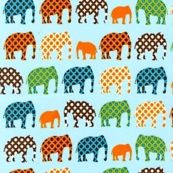 Laurie Wisbrun, Urban Circus Elephants Earth Blue Fabric - By the Yard