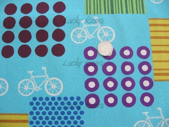 Echino Ni-co Bicycle Teal Fabric- Reserved for chicknpig6
