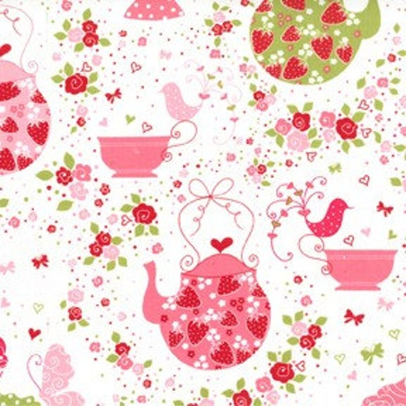 Michael Miller Strawberry Tea Party Pink Fabric - By the Yard
