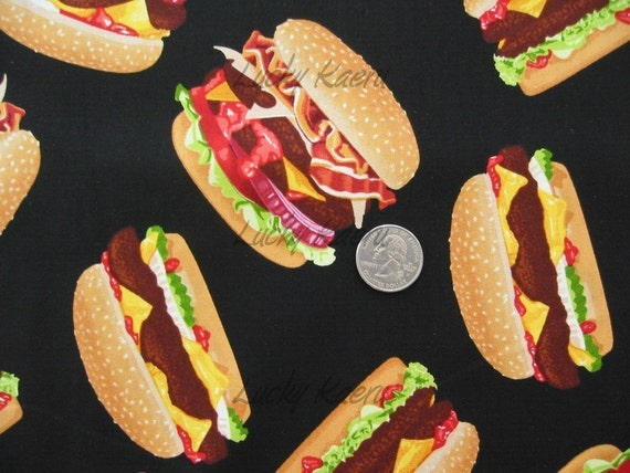 Burgers on Black Fabric - By the Yard