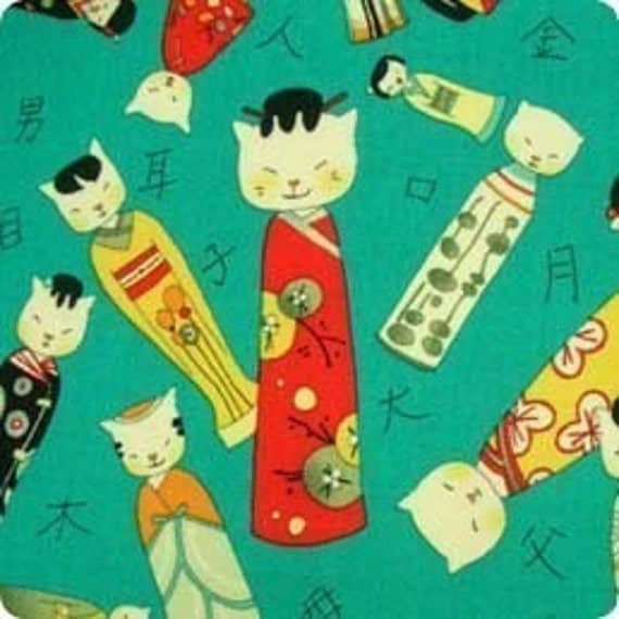 Alexander Henry Kitty Kokeshi Doll Fabric on Turquoise - By the Yard