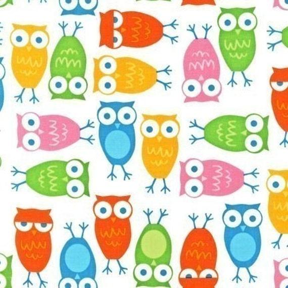 Ann Kelle Urban Zoologie, Owls White Fabric - By the Yard