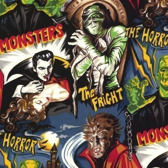 Movie Monsters Fabric in Dusty Midnight - By the Yard