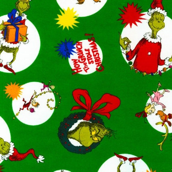 Dr. Seuss, How The Grinch Stole Christmas, Characters in Circles, Holiday Green FLANNEL Fabric - Reserved for Lois