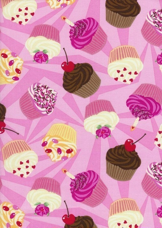 Tossed Cupcakes on Pink Fabric - By the Yard