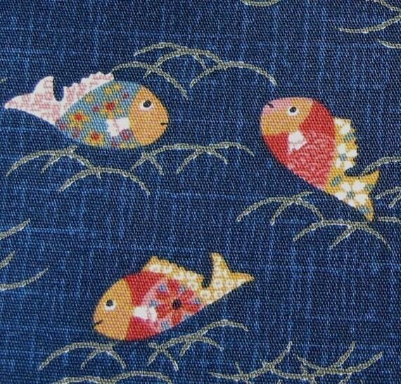 Fish on Indigo Blue Japanese Fabric - By the Yard