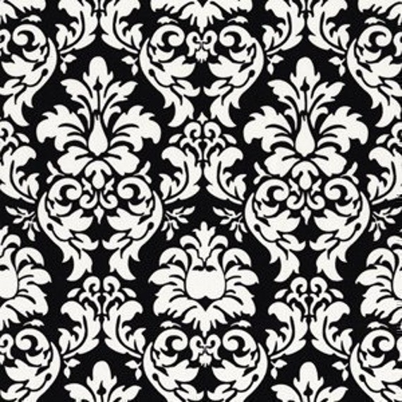 Michael Miller Dandy Damask Black Fabric - By the Yard