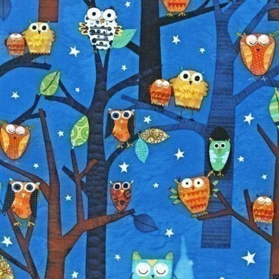 Amy Schimler Forest Fun Owls Spring Fabric - Remnant Size 33 Inches by 44 Inches
