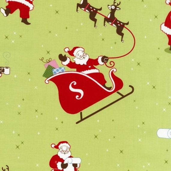 SALE Caleb Gray, Sleigh Ride, Santa Sleigh on Sage Fabric - By the Yard