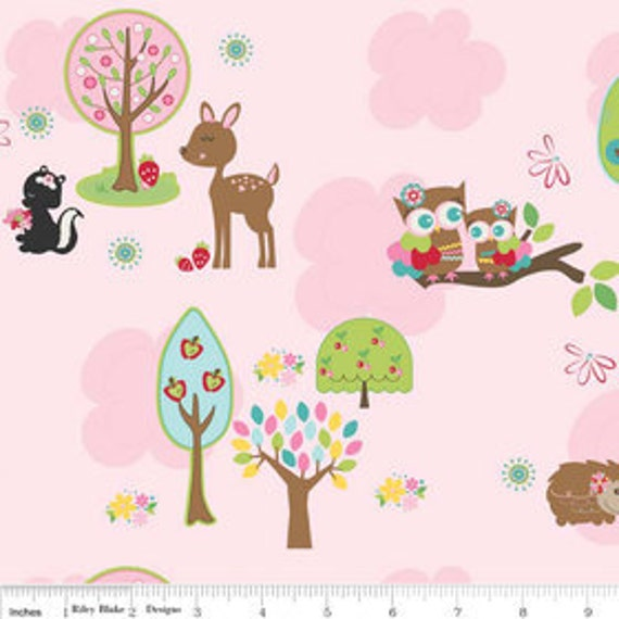 Riley Blake Designs, Hoo's In The Forest, Main Pink Fabric - By the Yard