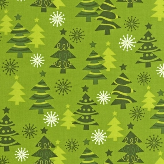 O tinsel tree trees in green fabric by the yard