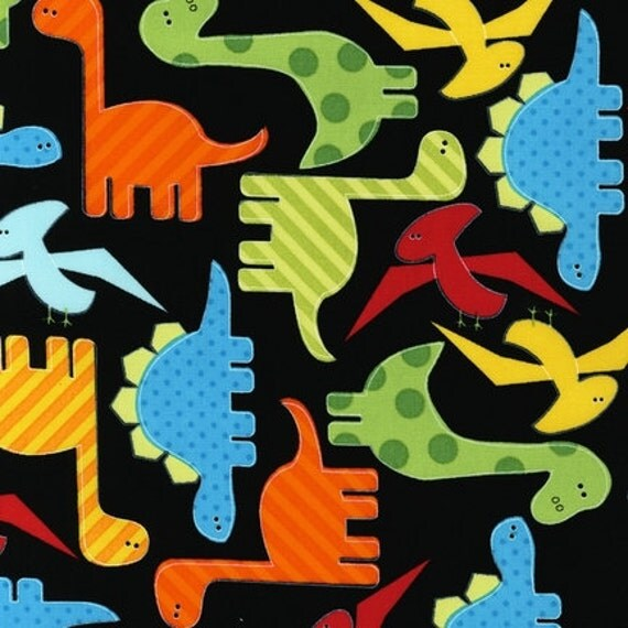 Ann kelle urban zoologie dinosaurs bright fabric by the for Dinosaur fabric